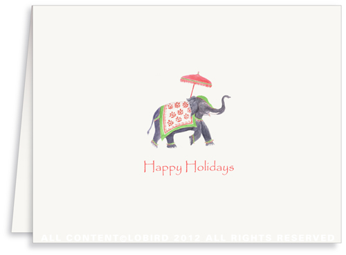 Festive Elephant –Green/Red - Greeting Card