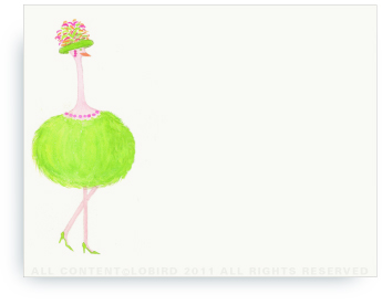 "Green Ostrich - Gabby - Non-Personalized Note Cards (4.25"" X 5.5"")"