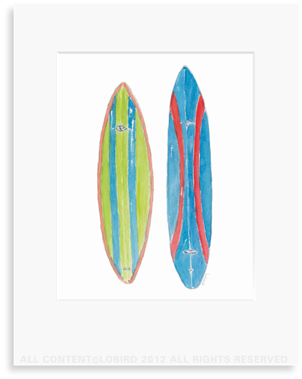 Double Corky Surfboard -8 x 10 Print in 11 x 14 Mat