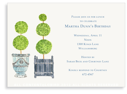 Pots with Topiary- Collection 2 -Invitations