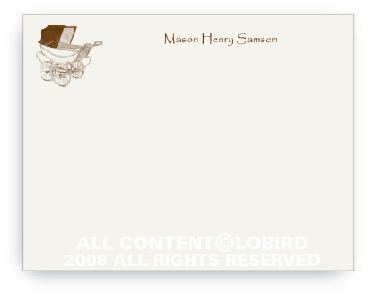 Vintage Brown Baby Carriage - Note cards