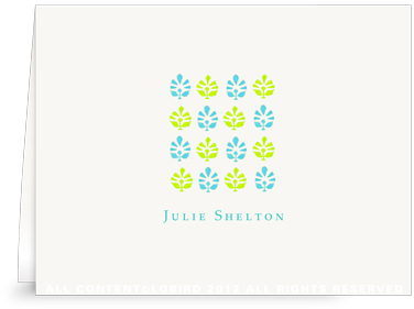 Block Print Tapestry - Turquoise/Lime - Folded Note Cards