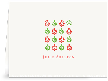Block Print Tapestry - Green/Red - Folded Note Cards