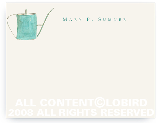 Turquoise Watering Can - Flat Note cards
