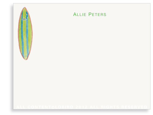 Green Alli Surfboard - Flat Note Cards