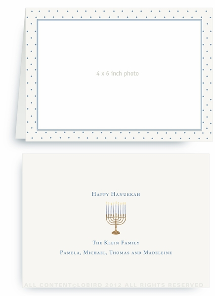 Swiss Dots-  French Blue -Folded Holiday Card