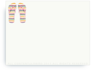 "Striped Flipflops - Non-Personalized Note Cards (4.25"" X 5.5"")"