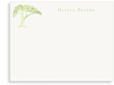 Green Toile Tree - Flat Note cards