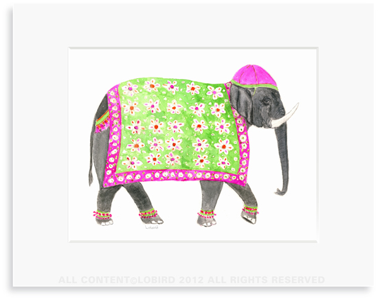 Festive Elephant  with Floral Tapestry - 8 x 10 Print in 11 x 14 Mat
