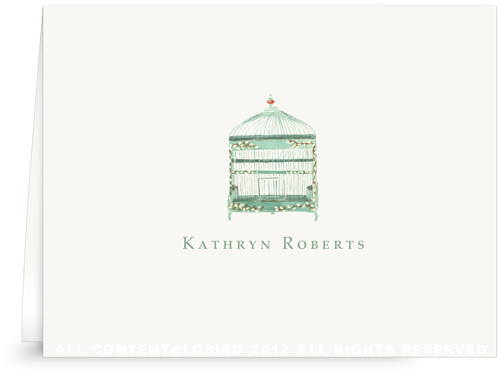 Green Willow Bird Cage - Folded Note Cards