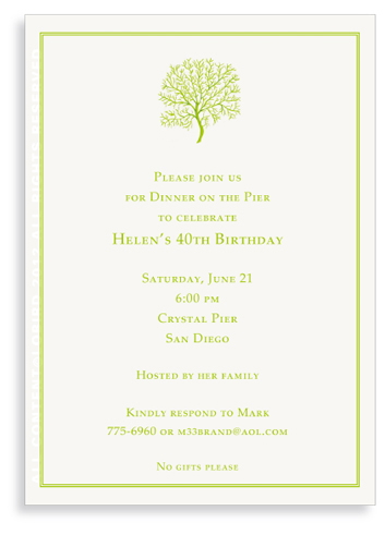 Coral Fan - Lime - invitations