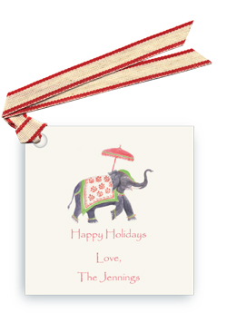 Festive Elephant - Green/Red - Gift Tags