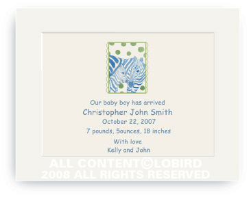 Zebra Mother and Child - Baby Announcements