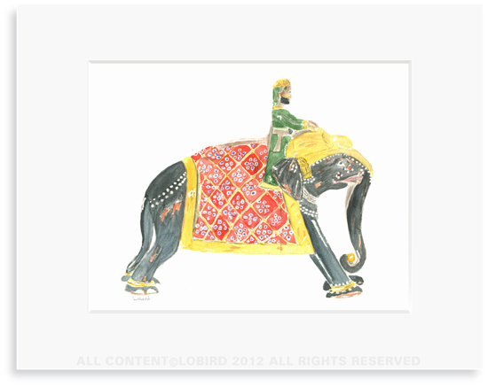 Prince Riding Elephant - - 8 x 10 Print in 11 x 14 Mat