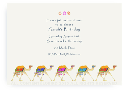 Festive Camel Parade - Invitations