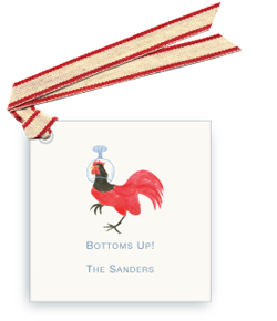 Rooster Wearing Cocktail Glass on Head - Gift Tags