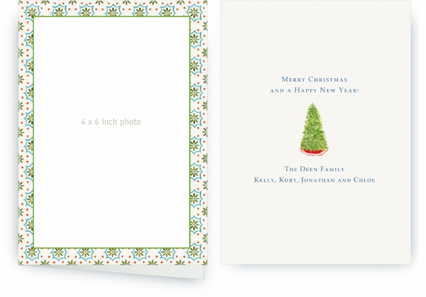 Talavera Tile - Green-Turquoise Folded Holiday Cards
