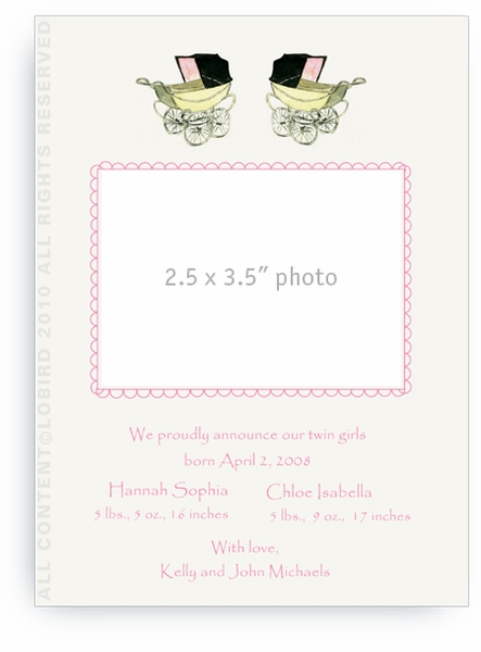 Twin Vintage Pink Baby Carriages - Baby Announcements