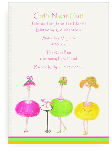 3 Party Ostriches having Cocktails - Invitations