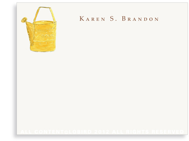Yellow Watering Can - Flat Note cards
