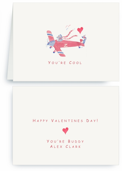 Zebra Flying Plane with Heart  - Valentines Card
