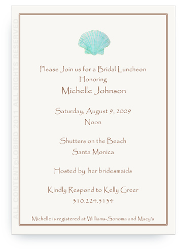 Aqua Green Scallop Sea Shell - Invitations