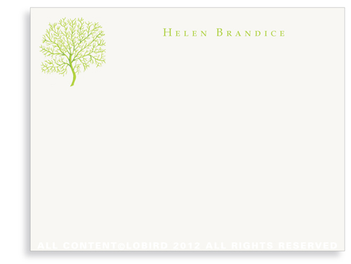 Coral Fan - Lime - Flat Note Cards
