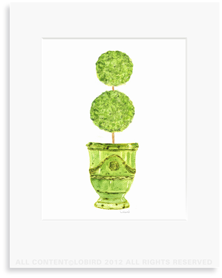 Antique Anduze-Green with double ball Topiary -8 x 10 Print in 11 x 14 Mat