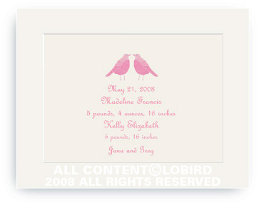 Twin Pink Song Birds - Baby Announcements