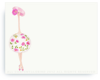 "Ostrich - Fleur - Non-Personalized Note Cards (4.25"" X 5.5"")"