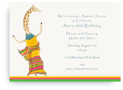Dancing Giraffe - Invitations