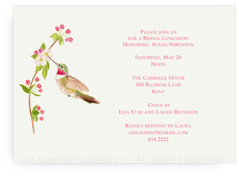 Ruby Throated Hummingbird - Apple Blossom - Invitations