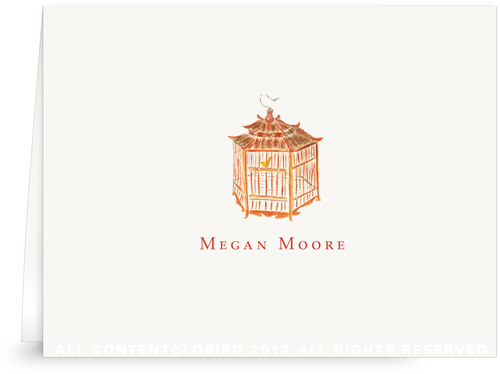 Red Pagoda Bird Cage - Folded Note Cards
