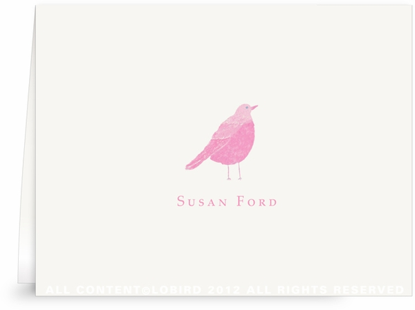 Pink Song Bird - Folded Note Cards