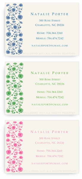 Chinese Floral Tapestry - Calling cards
