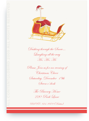 Holiday Ostrich in Sleigh - Invitations