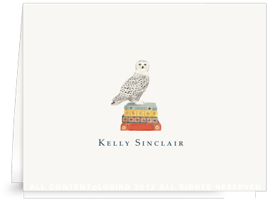 Snowy Owl on Stack of Books - Folded Note Cards