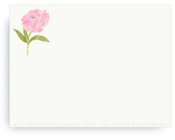 "Pink Peony - Non-Personalized Note Cards (4.25"" X 5.5"")"