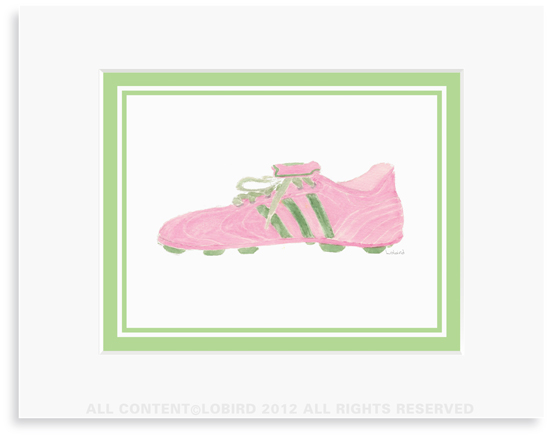 Cleat -pink/green - 8 x 10 Print in 11 x 14 Mat