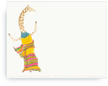 "Dancing Giraffe - Non-Personalized Note Cards (4.25"" X 5.5"")"