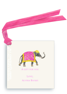 Festive Elephant with Bead Tapestry - Fuchsia - Gift Tags