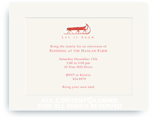 Red Sled - Holiday Invitations