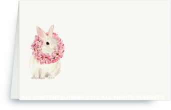 White Rabbit with Magnolia Wreath - Place Cards