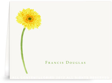Gerber Daisy-Yellow -Folded Notes