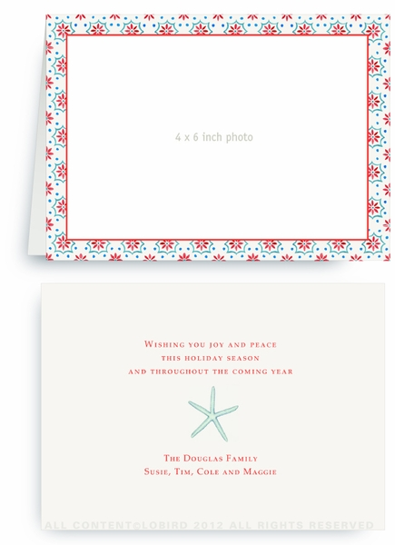 Talavera Tile - Red - Turquoise - Folded Holiday Card