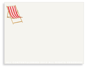 "Beach Chair - Red- Non-Personalized Note Cards (4.25"" X 5.5"")"