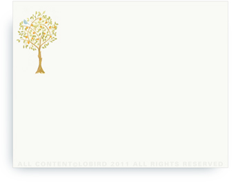 "Tangerine Tree with Bird - Non-Personalized Note Cards (4.25"" X 5.5"")"