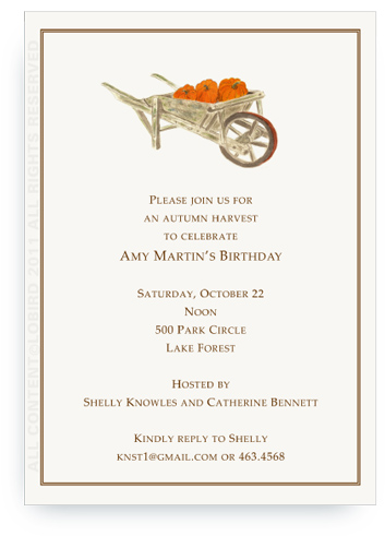 Pumpkins in Wheelbarrow - Invitations