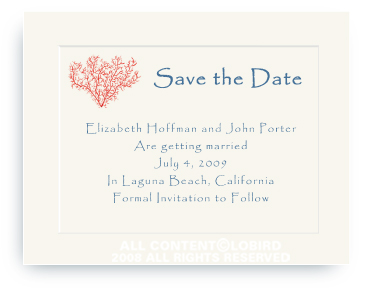 Coral - Save the Date Cards