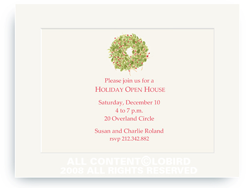 Holiday Wreath - Holiday Invitations